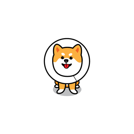 Funny dog wearing Elizabethan collar, puppy cartoon icon, vector illustration