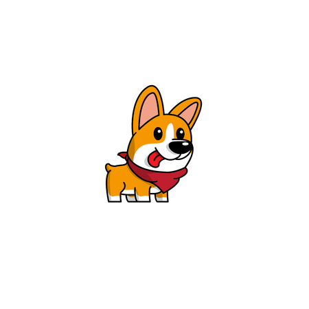Cartoon cute welsh corgi dog with red scarf icon, logo design, vector illustration