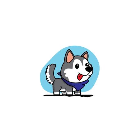 Cartoon cute siberian husky puppy with blue scarf icon, logo design, vector illustration