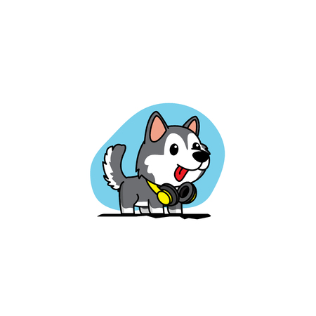 Cute siberian husky puppy with yellow headphones icon, logo design, vector illustration