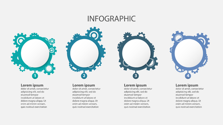Business infographic, engineer and mechanical concept, template circle and gears with four steps  vector illustration Archivio Fotografico - 99518078