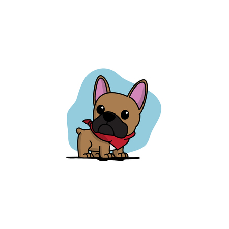 Cute french bulldog puppy with red scarf icon, logo design, vector illustration