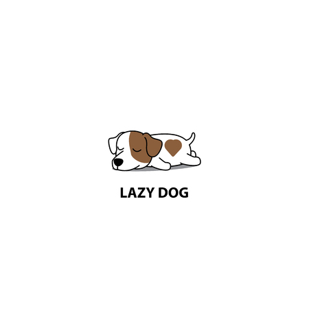 Lazy dog, cute jack russell terrier sleeping icon, vector illustration