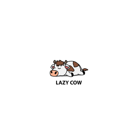 Lazy cow sleeping icon, vector illustration
