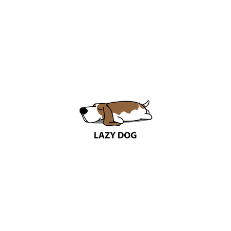 Lazy dog, cute basset hound sleeping icon, vector illustration Illustration
