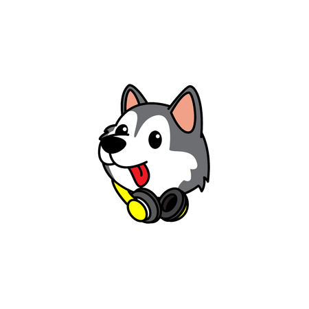 Cute siberian husky puppy head with headphones on neck  icon, logo design, vector illustration