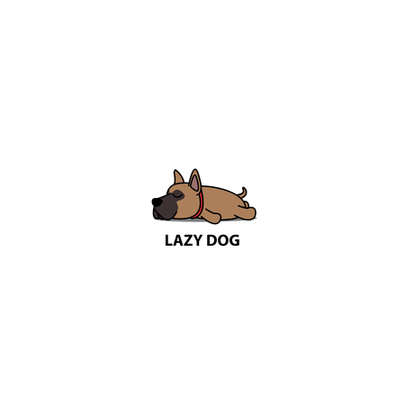 Lazy dog, cute brown great dane puppy sleeping icon, vector illustration