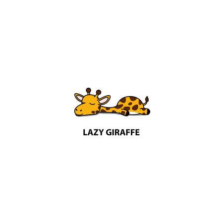 Lazy giraffe sleeping icon, logo design, vector illustration