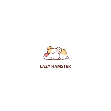 Lazy hamster sleeping icon, logo design, vector illustration