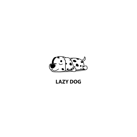 Lazy dog, cute dalmatian puppy sleeping icon, vector illustration