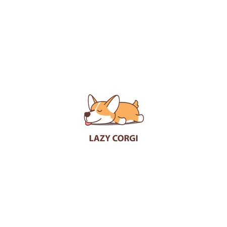 Lazy dog, cute corgi puppy sleeping icon, logo design, vector illustration Stock Illustratie