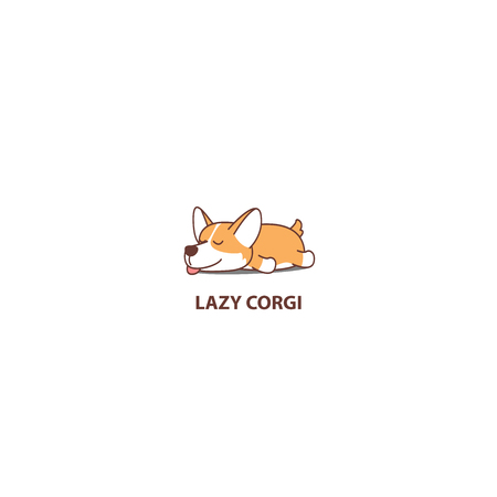 Lazy dog, cute corgi puppy sleeping icon, logo design, vector illustration 向量圖像