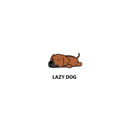 Lazy dog, cute Rhodesian ridge back puppy sleeping icon illustration. 矢量图像
