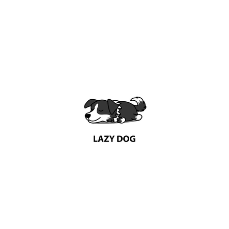 Lazy dog, cute Border Collie puppy sleeping icon, vector illustration