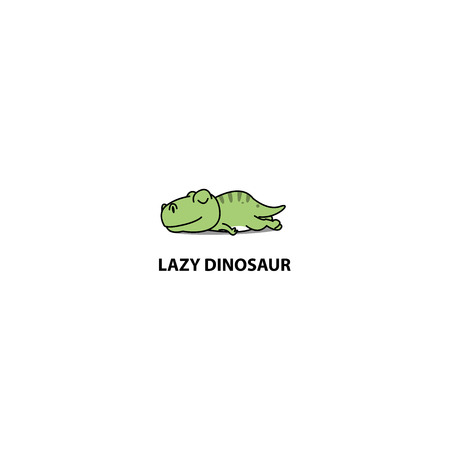 Lazy dinosaur, T- rex sleeping icon, logo design, vector illustration Archivio Fotografico - 100998305