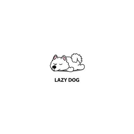 Lazy dog, cute samoyed puppy sleeping icon, logo design, vector illustration