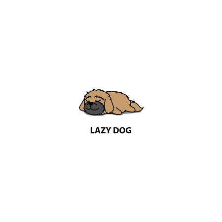 Lazy dog, cute shih tzu puppy sleeping icon,  design, vector illustration Ilustrace