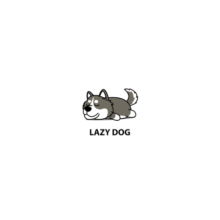 Lazy dog, cute siberian husky sleeping icon, logo design, vector illustration