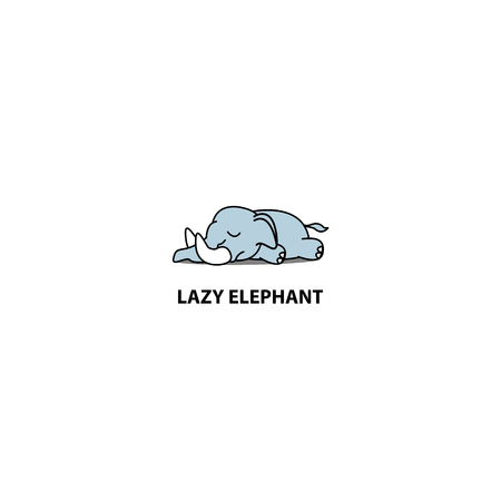 Lazy elephant sleeping icon, logo design, vector illustration