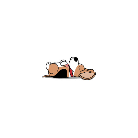 Lazy dog, cute beagle puppy sleeping icon, vector illustration