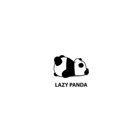Lazy panda sleeping icon, logo design, vector illustration