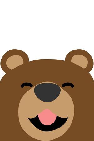 Smiling bear face flat design, vector illustration Archivio Fotografico - 111266884