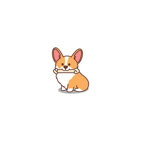 Cute welsh corgi puppy cartoon icon, vector illustration