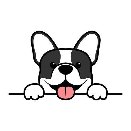 Cute french bulldog puppy paws up over wall, dog face cartoon, vector illustration Çizim