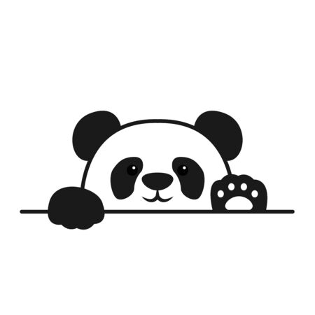 Cute panda paws up over wall, panda face cartoon icon, vector illustration Çizim