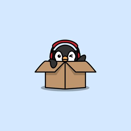 Cute penguin with headphone in the box, vector illustration