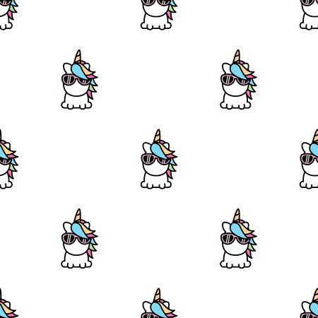 Cute unicorn seamless pattern, vector illustration Illustration