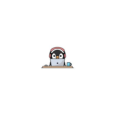 Cute penguin with headphone working on a laptop, vector illustration Illustration