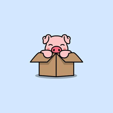 Cute pig in the box cartoon icon, vector illustration Illustration