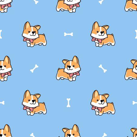 Cute welsh corgi puppy seamless pattern, vector illustration Stock Illustratie