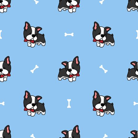 Cute boston terrier puppy cartoon seamless pattern, vector illustration