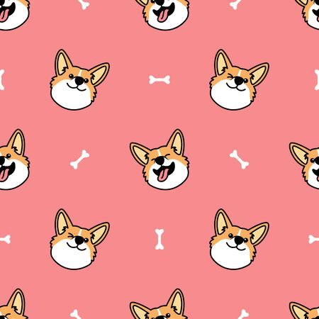 Cute welsh corgi dog face cartoon seamless pattern, vector illustration