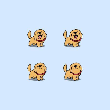 Cute golden retriever dog cartoon set, vector illustration