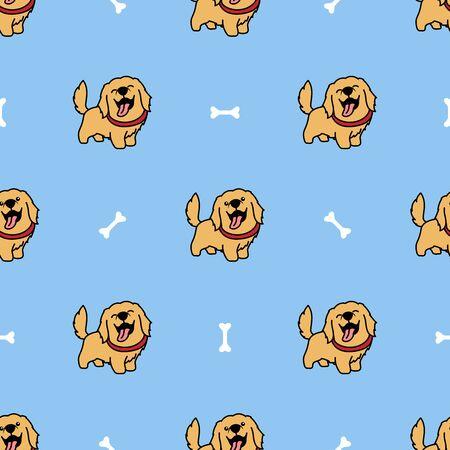 Cute golden retriever dog cartoon seamless pattern, vector illustration