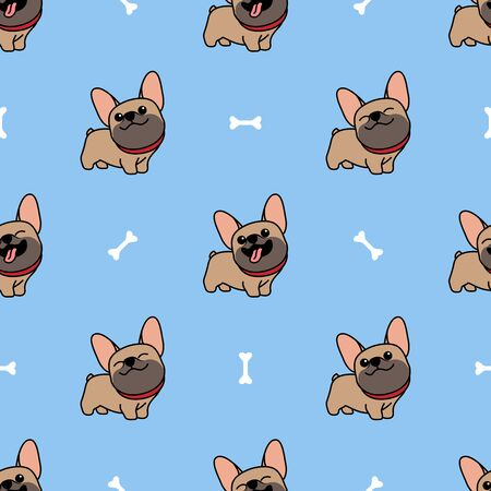 Cute brown french bulldog cartoon seamless pattern, vector illustration