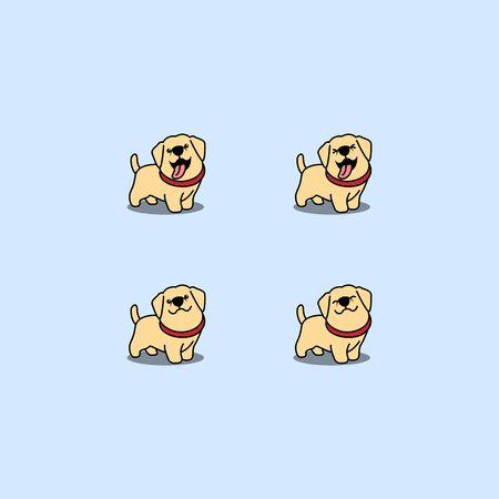 Cute labrador retriever puppy cartoon set, vector illustration