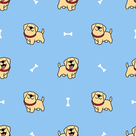 Cute labrador retriever puppy cartoon seamless pattern, vector illustration
