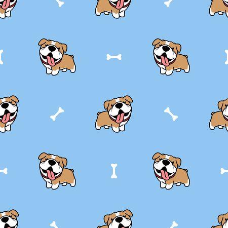 Cute bulldog cartoon seamless pattern, vector illustration Stock Illustratie