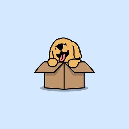 Cute golden retriever puppy in the box cartoon icon, vector illustration