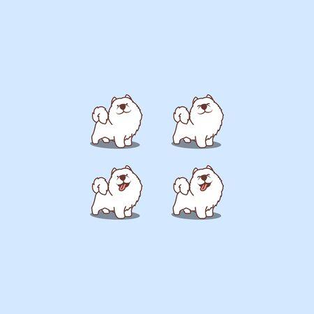 Cute samoyed dog cartoon set, vector illustration