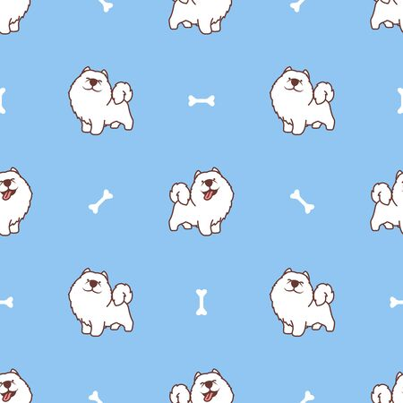 Cute samoyed dog cartoon seamless pattern, vector illustration