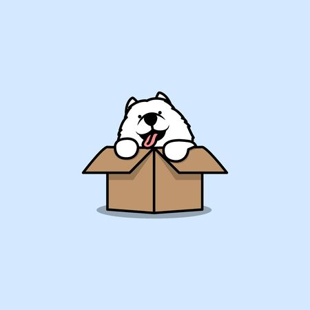 Cute samoyed puppy in the box cartoon icon, vector illustration Illustration