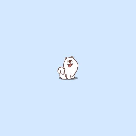 Cute samoyed dog sitting and smiling cartoon icon, vector illustration Vettoriali