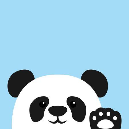 Cute panda waving paw, vector illustration
