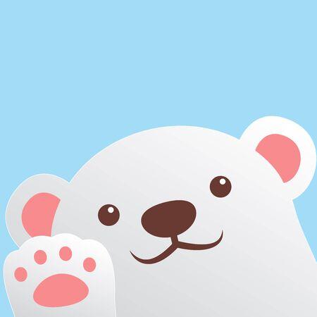 Cute polar bear waving paw, vector illustration Stock Illustratie