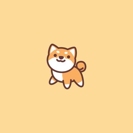Cute shiba inu dog cartoon icon, vector illustration Stock Illustratie